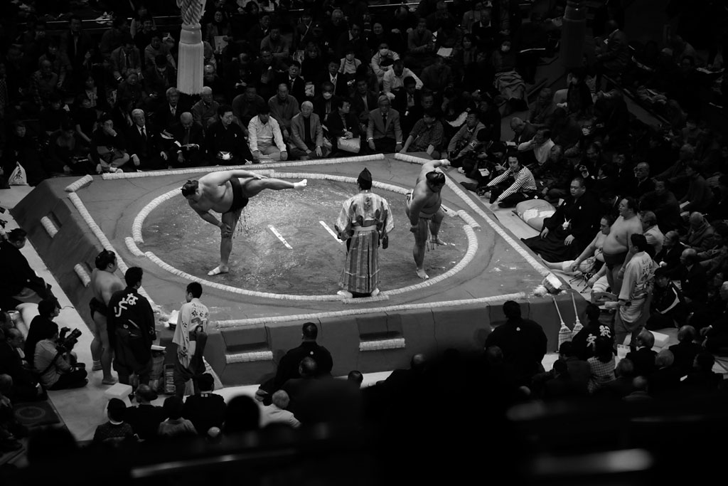 The typical sumo match: minutes of ritual surrounding a few seconds of furious action.