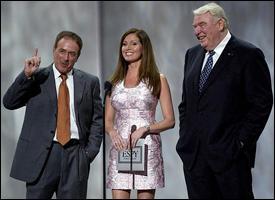 Al Michaels, Lisa Guerrero and John Madden