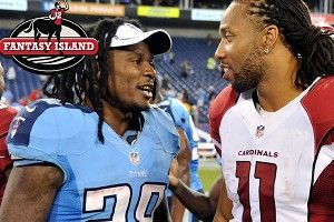 Chris Johnson speaks to Larry Fitzgerald