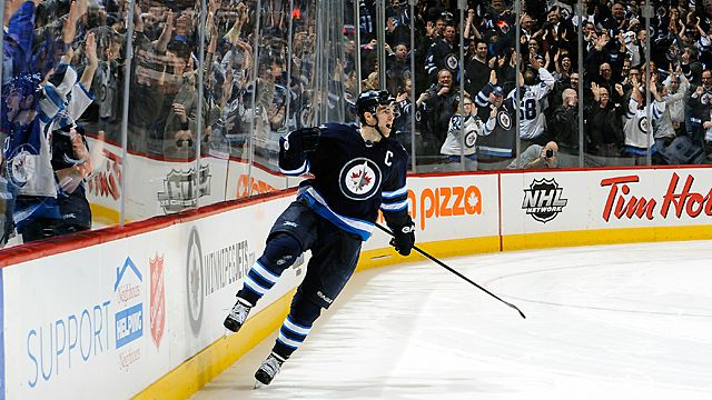 Andrew Ladd #16 of the Winnipeg Jets