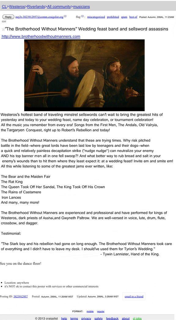 Game of Thrones Wedding Band - Netw3rk