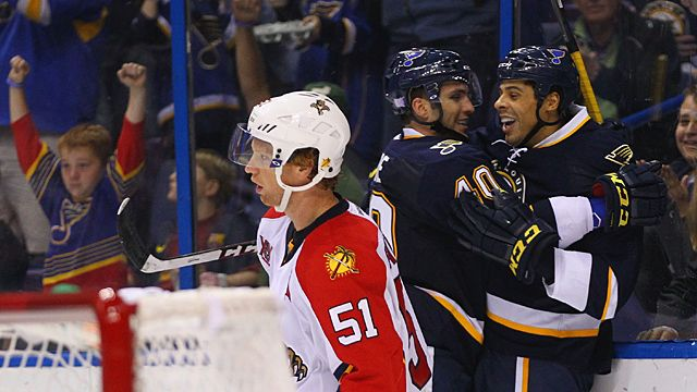 Maxim Lapierre #40 and Ryan Reaves #75 of the St. Louis Blues