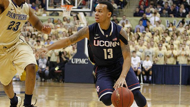 Shabazz Napier #13 of the Connecticut Huskies handles the ball against the Pittsburgh Panthers at Petersen Events Center on January 19, 2013 in Pittsburgh, Pennsylvania.