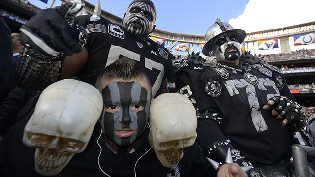 Oakland Raiders fans dress up for the game against the San Diego Chargers on December 30, 2012 at Qualcomm Stadium in San Diego, California.