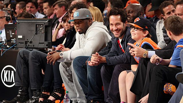 Rapper Curtis James Jackson III, better known by his stage name '50 Cent', sits beside a laughing Paul Rudd
