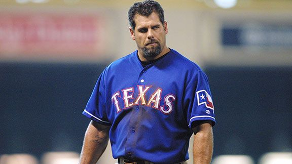 Ken Caminiti of the Texas Rangers reacts to the play during the game against the Houston Astros at Enron Field in Houston, Texas. The Astros defeated the Rangers 2-1.