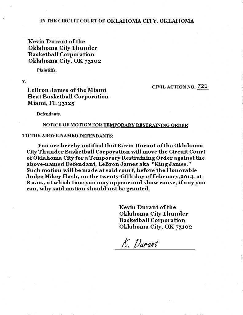 Kevin Durant Restraining Order