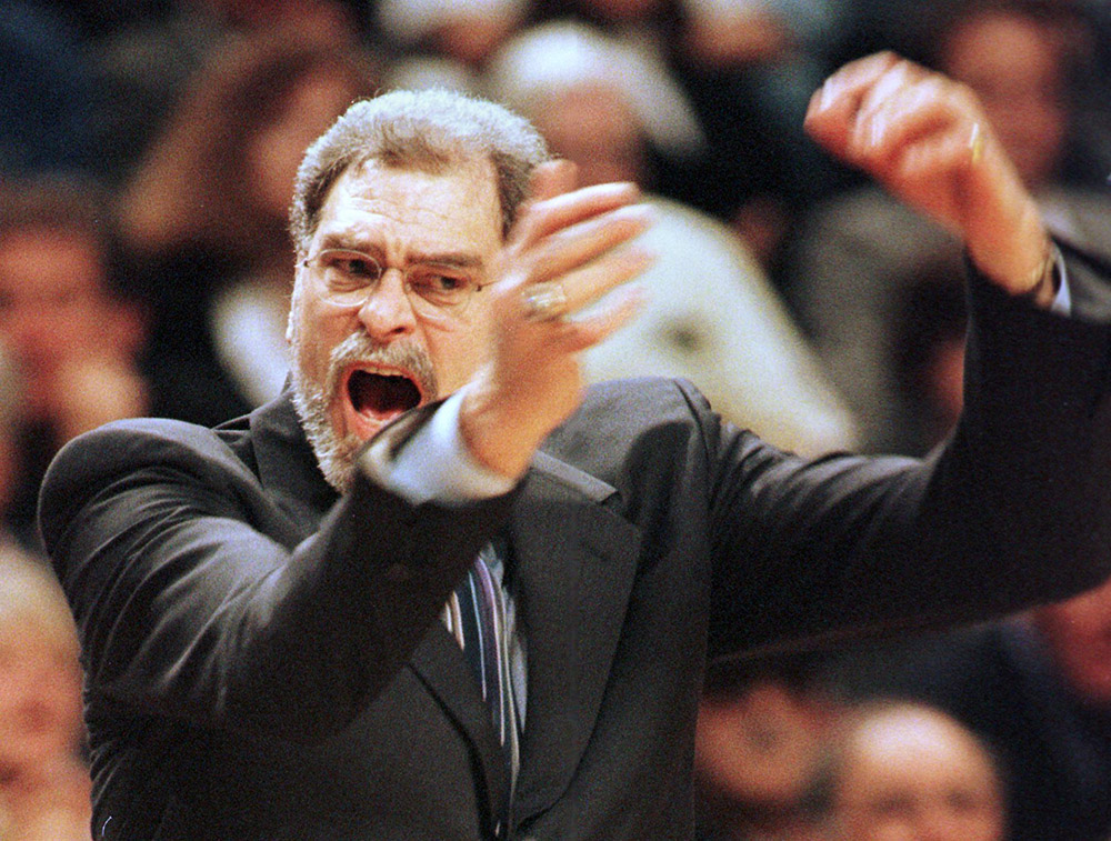 Chicago Bulls coach Phil Jackson of the Chicago Bu