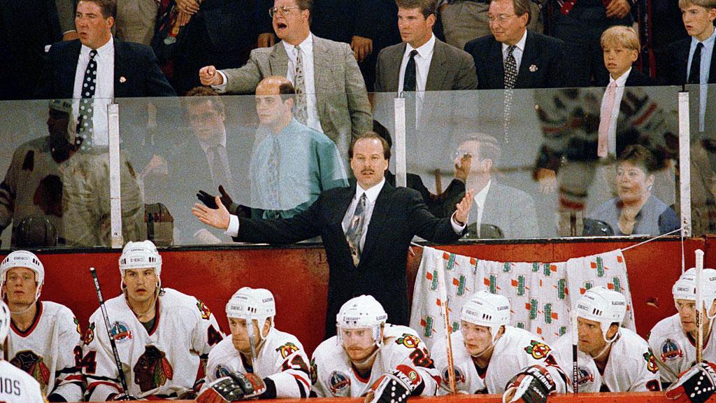 Chicago Blackhawks coach Mike Keenan