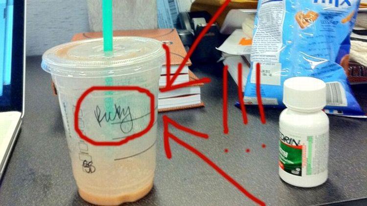 Ricky Rubio's coffee cup