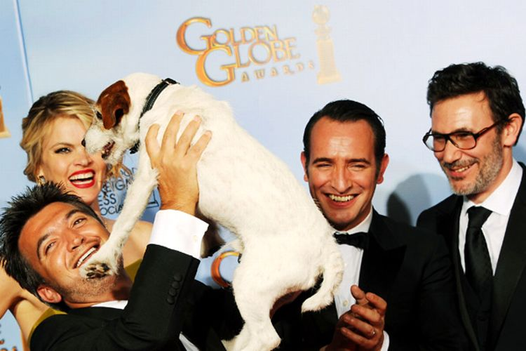 Producer Thomas Langmann, actress Missi Pyle, Uggie the Dog, actor Jean Dujardin, and director Michel Hazanaviciu