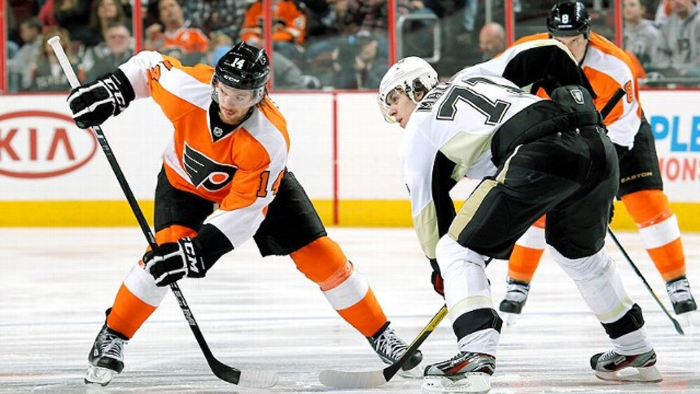 Sean Couturier and Evgeni Malkin