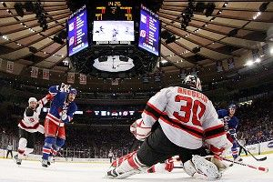 Martin Brodeur and Chris Kreider