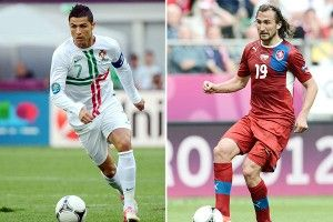 Petr Jiracek and Cristiano Ronaldo