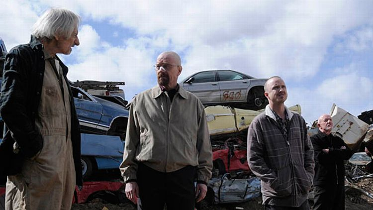 Old Joe (Larry Hankin), Walter White (Bryan Cranston), Jesse Pinkman (Aaron Paul) and Mike (Jonathan Banks)