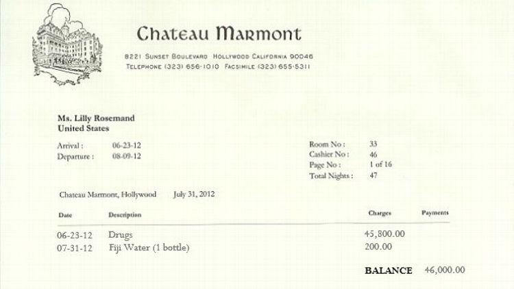 Lindsay Lohan's hotel bill