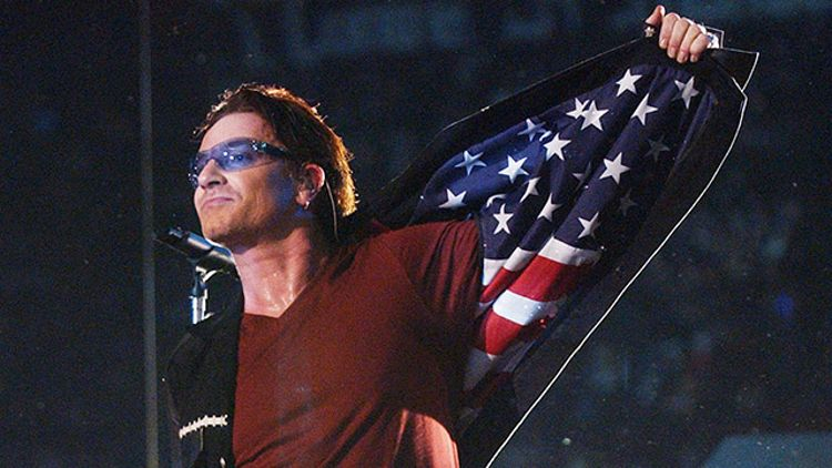 Bono at Super Bowl XXXVI