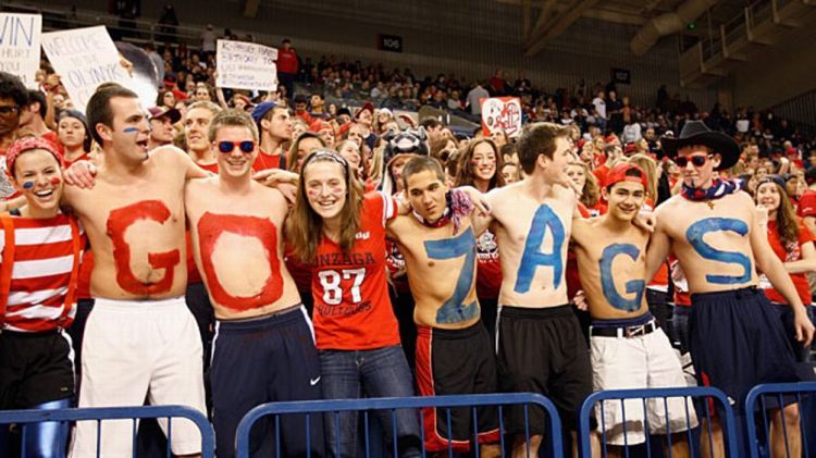 Fans of the Gonzaga Bulldogs cheer during the game against the San Francisco Dons at McCarthey Athletic Center on January 26, 2013 in Spokane, Washington.