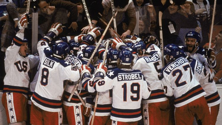 Team USA celebrates their 4-3 victory over the Soviet Union