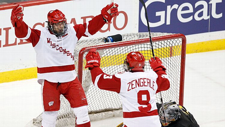 Wisconsin's Tyler Barnes and Mark Zengerle