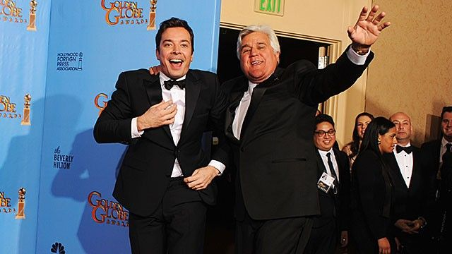 Presenters Jimmy Fallon (L) and Jay Leno pose in the press room during the 70th Annual Golden Globe Awards held at The Beverly Hilton Hotel on January 13, 2013 in Beverly Hills, California.
