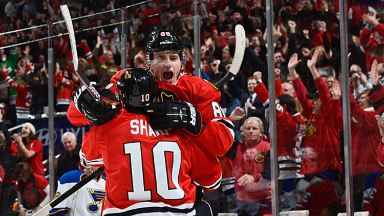 Patrick Kane with teammate Patrick Sharp