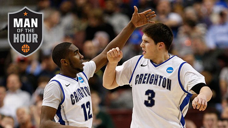 Jahenns Manigat #12 and Doug McDermott #3 of the Creighton Bluejays