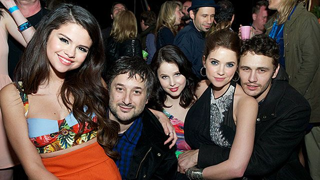 (L-R) Selena Gomez, Harmony Korine, Vanessa Hudgens, Ashley Benson and James Franco attend 'The Branding Bee Presents The World Premiere After-Party Of 'Spring Breakers' Live From The Hive at The Ranch on March 10, 2013 in Austin, Texas.