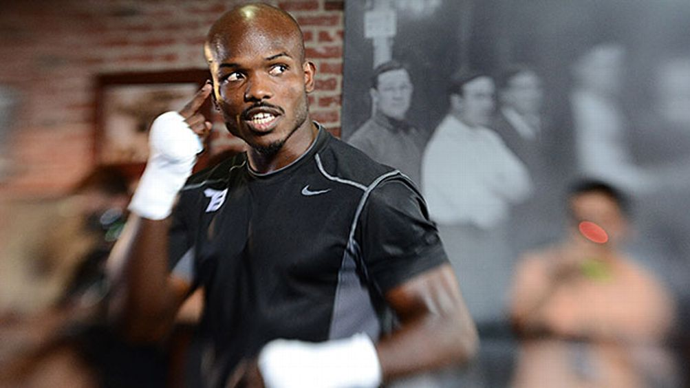 US boxer Timothy Bradley speaks during a media workout at Fortune Gym on May 29, 2012 in Los Angeles, California. The workout is in advance of Bradley's upcoming WBO welterweight championship fight against Manny Pacquiao of the Philippines on June 9 at th