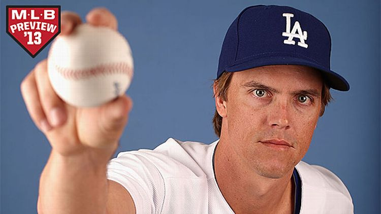 Pitcher Zack Greinke #21 of the Los Angeles Dodgers poses for a portrait during spring training photo day at Camelback Ranch on February 17, 2013 in Glendale, Arizona.