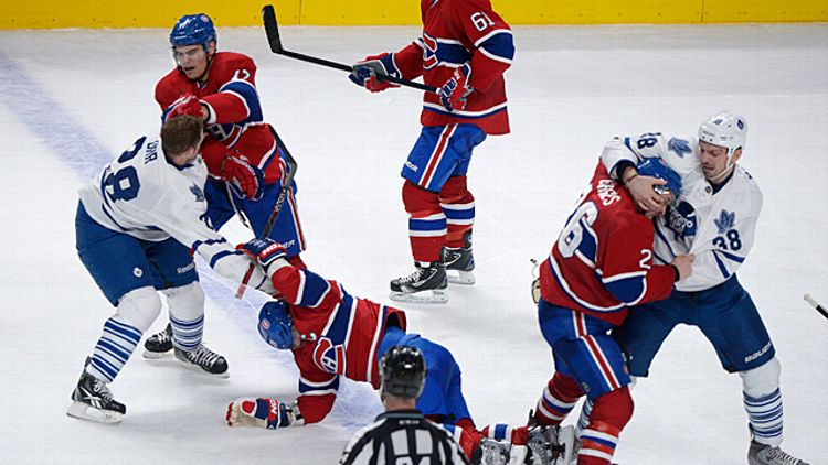 Montreal Canadiens and the Toronto Maple Leafs fight