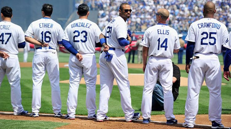 Los Angeles Dodger starting players (L-R) Luis Cruz, Andre Ethier, Adrian Gonzalez, Matt Kemp, Mark Ellis and Carl Crawford opening day at Dodger Stadium on April 1, 2013 in Los Angeles, California.