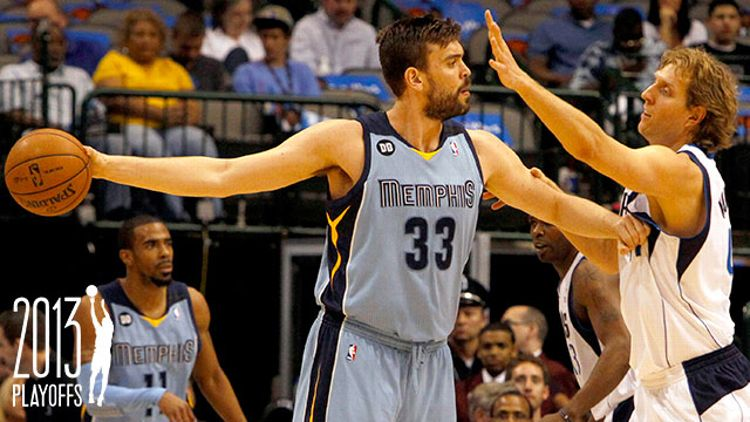 Memphis Grizzlies center Marc Gasol (33) holds off Dallas Mavericks power forward Dirk Nowitzki (41) during an NBA game at the American Airlines Center in Dallas, Texas, Monday, April 15, 2012. w/ Grantland NBA Playoffs Logo