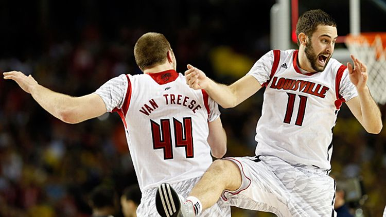 Stephan Van Treese #44 and Luke Hancock #11 of the Louisville Cardinals