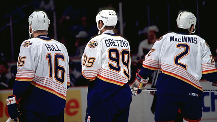 Wayne Gretzky with Brett Hull and Al MacInnis
