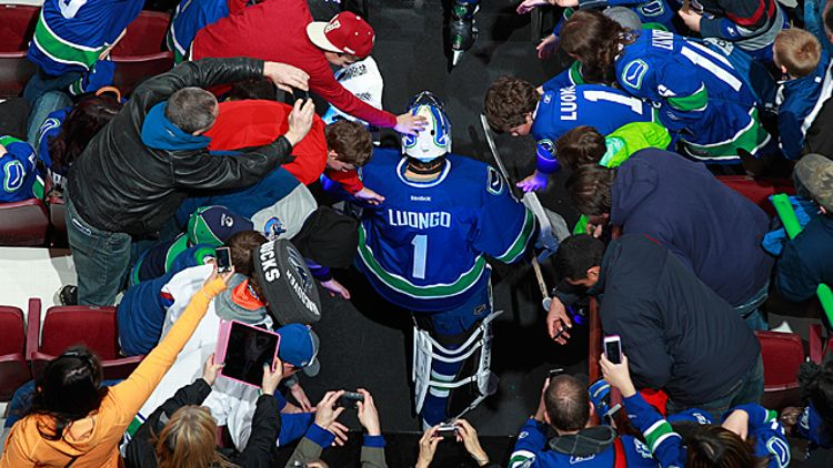 Roberto Luongo #1 of the Vancouver Canucks