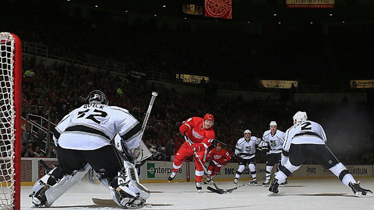 Goalie Jonathan Quick #32 and defensman Matt Greene #2 of the Los Angeles Kings