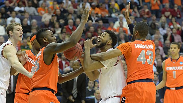 Indiana Hoosiers forward Christian Watford (2) loses control of the ball