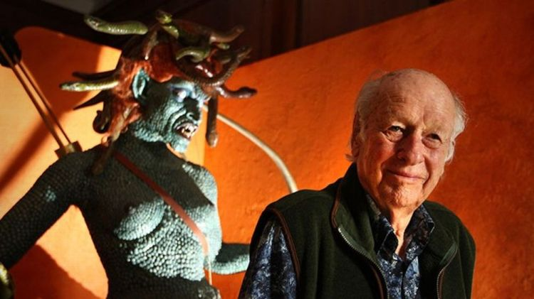 Special effects creator Ray Harryhausen poses for photographs with an enlarged model of Medusa from his 1981 film 'Clash Of The Titans' at the The Myths And Legends Exhibition at The London Film Museum on June 29, 2010 in London, England. Ray Harryhausen