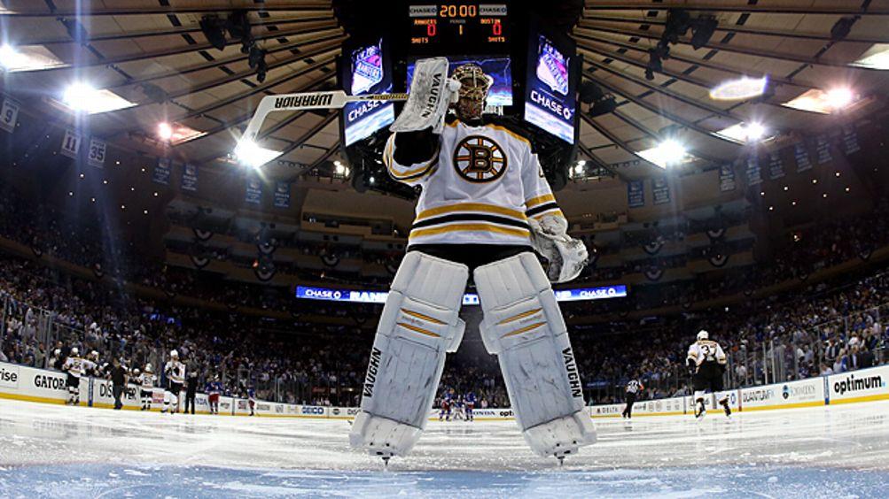 Tuukka Rask #40 of the Boston Bruins