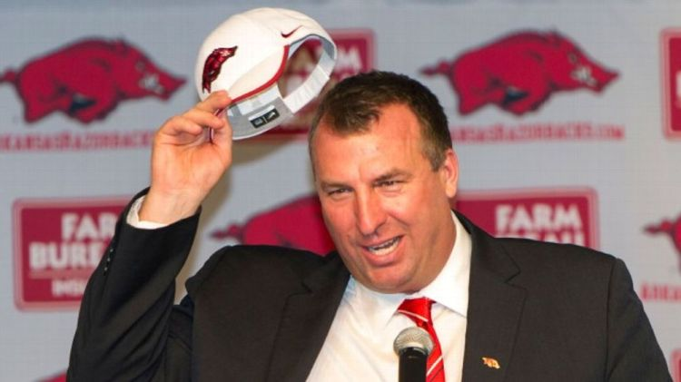 Former Wisconsin Badger Head Coach Bret Bielema speaks during his introduction as the new Head Coach of the Arkansas Razorbacks on December 5, 2012 in Fayetteville, Arkansas.