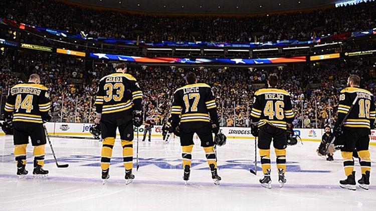 Dennis Seidenberg #44, Zdeno Chara #33, Milan Lucic #17, David Krecji #46 and Nathan Horton #18 of the Boston Bruins