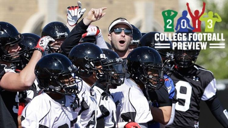 Texas Tech head football coach Kliff Kingsbury, center top, gets his team ready for a spring practice in Lubbock, Texas, Sunday, March 24, 2013. At 33-years-old, the former Texas Tech star quarterback is the youngest head coach of a BCS school heading int