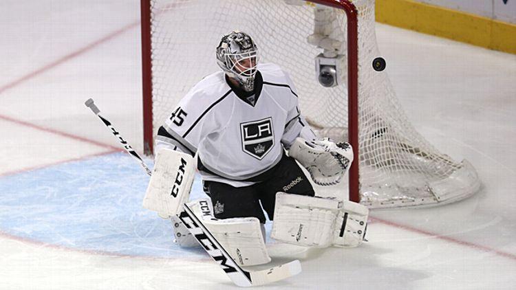 Goaltender Jonathan Bernier #45 of the Los Angeles Kings
