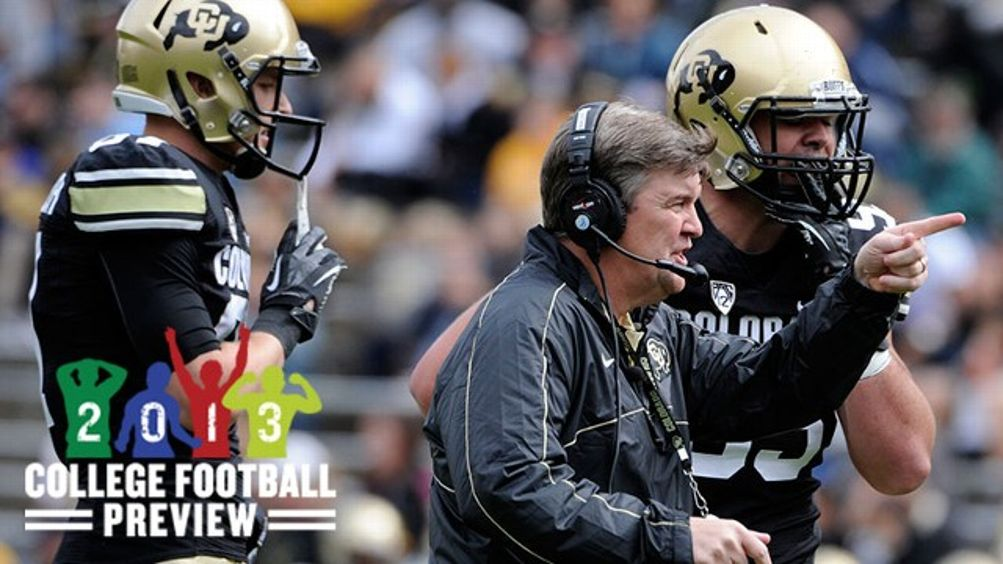 New head coach Mike MacIntyre directs his players from the field. The University of Colorado football team hosts its spring football game at Folsom Field under the direction of new head coach Mike MacIntyre.