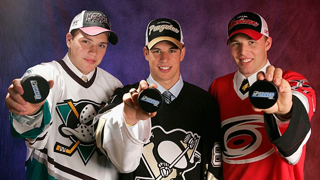 Bobby Ryan of the Mighty Ducks of Anaheim, Sidney Crosby of the Pittsburgh Penguins and Jack Johnson of the Carolina Hurricanes