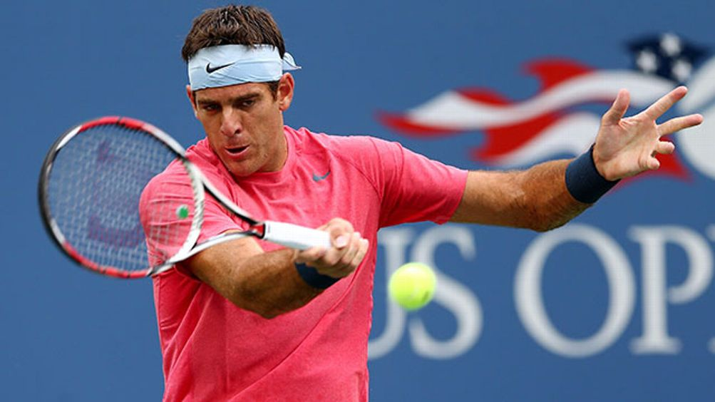 Juan Martin Del Potro of Argentina returns a shot to Guillermo Garcia-Lopez of Spain during their men's singles first round match on Day Three of the 2013 US Open at USTA Billie Jean King National Tennis Center on August 28, 2013 in the Flushing neighborh