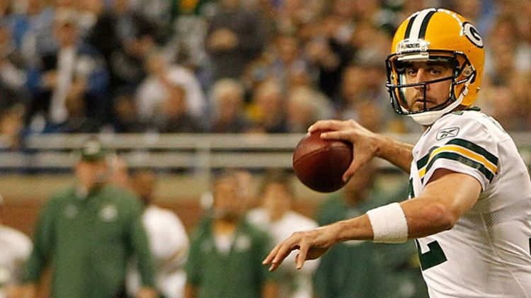 Quarterback Aaron Rodgers #12 of the Green Bay Packers