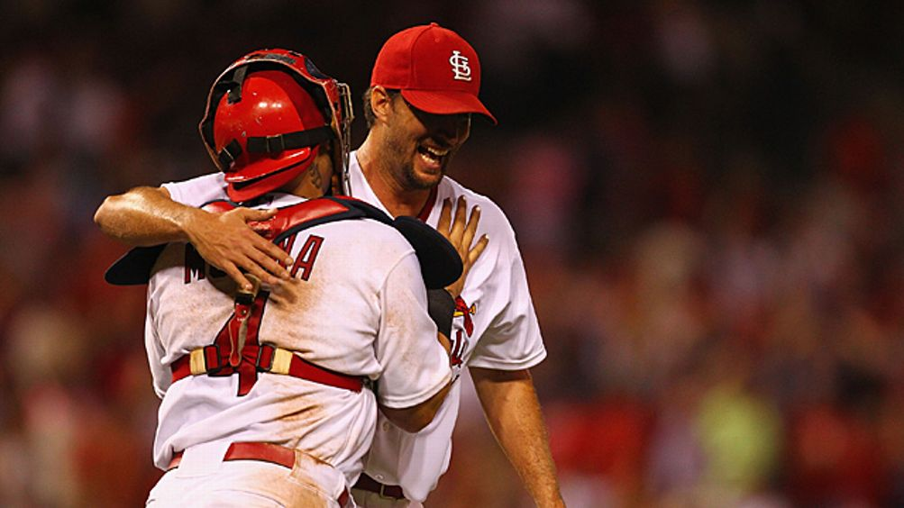 Starting pitcher Adam Wainwright #50 of the St. Louis Cardinals