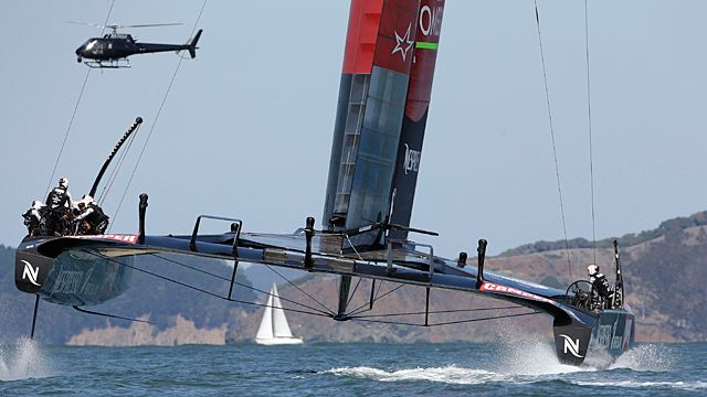 Oracle Team USA, left, and Emirates Team New Zealand
